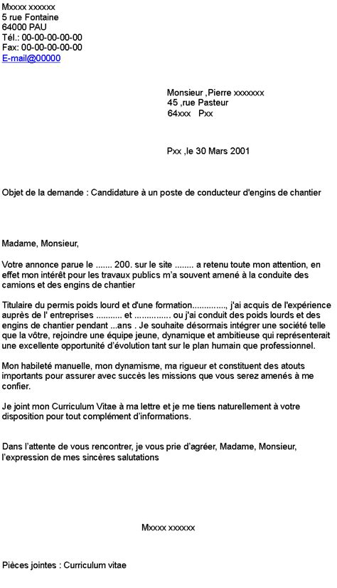 Lettre De Motivation Chantier Bénévole Candidature 224 Un Poste De Conducteur D Engins De Chantier