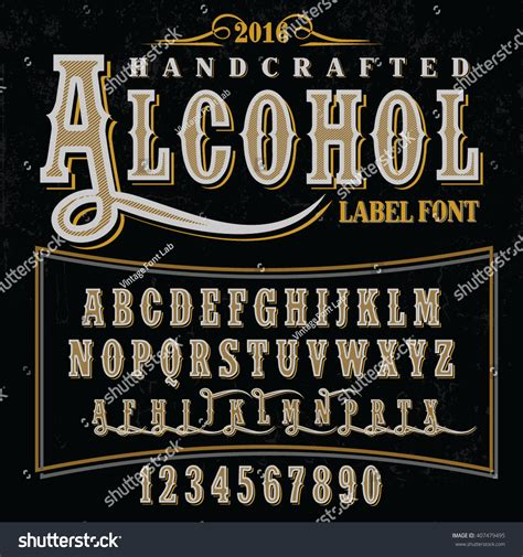 Handcrafted Font - crafted font for drinks label design vector