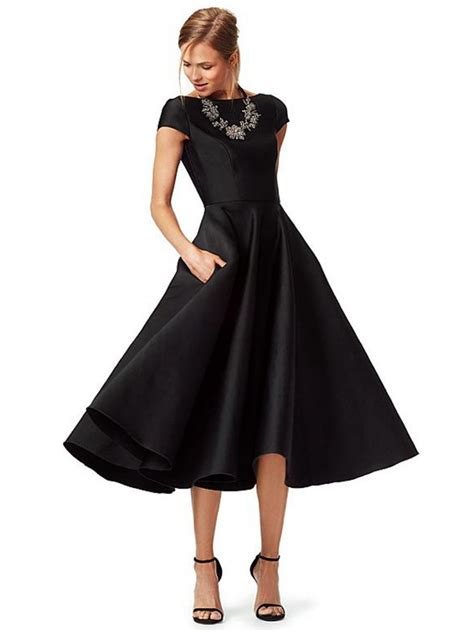 Sleeve A Line Evening Dress a line cap sleeves bateau tea length black prom formal