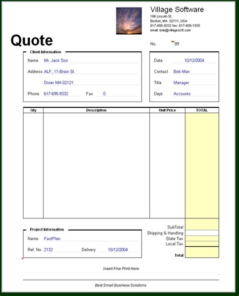 quote forms template free quote excel template images