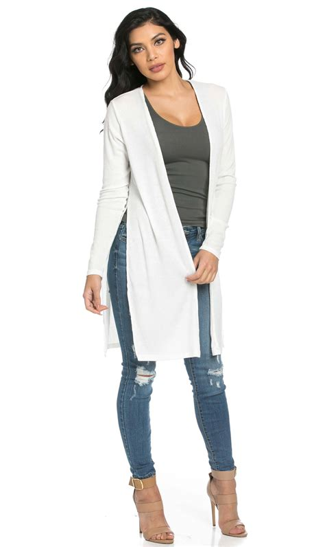 Slit Cardigan ribbed side slit cardigan in white soho