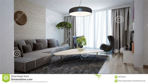 spacious design bright spacious design of modern lounge stock photo