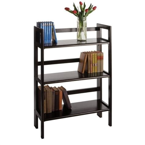 3 tier stackable folding wood bookcase winsome 3 tier stackable folding shelf black beechwood