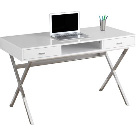 Monarch Specialties I 2390 Metal Monarch Specialties I 7211 48 Quot Computer Desk In Glossy White Chrome Metal