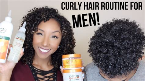 curly hair routine  men  cantu products