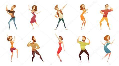 imagenes vectoriales personas personas dibujos animados divertidos iconos conjunto de