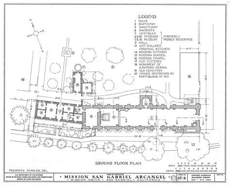 Mission San Jose Floor Plan by Architectural Drawings California Missions Resource Center