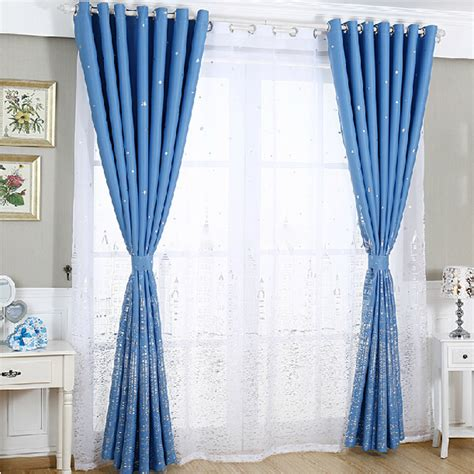 Star Patterns Romantic Kids Bedroom Blue Nursery Curtains Curtains For Boy Nursery