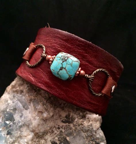 Handmade Cuffs - handmade leather turquoise gemstone cuff bracelet