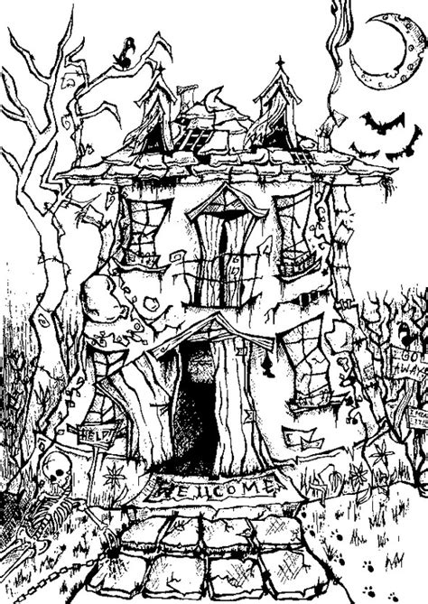 adult coloring page halloween manor house halloween 8