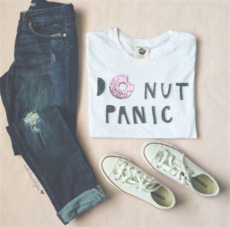 Donut Blouse t shirt donut donut panic donut white pink black