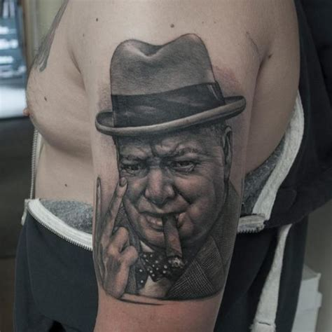 shoulder portrait realistic winston churchill by