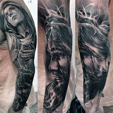 jesus unterarm tattoo 50 jesus sleeve tattoo designs for men religious ink ideas