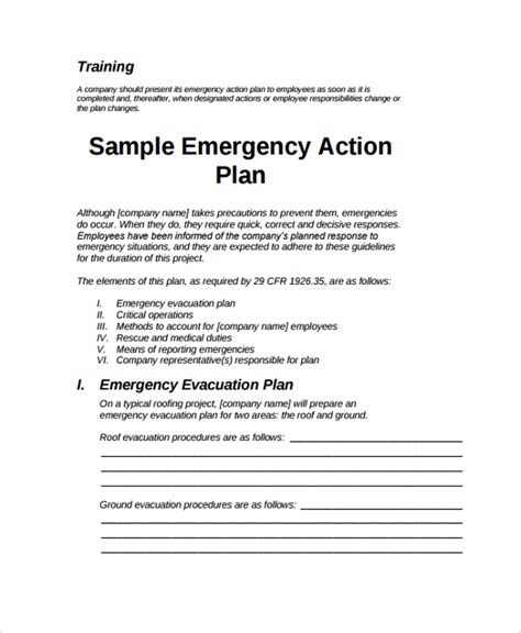 emergency action plan sle general business emergency