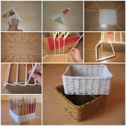 How To Make Flower Vase Using Plastic Bottle Diy Woven Storage Organizer From Newspaper
