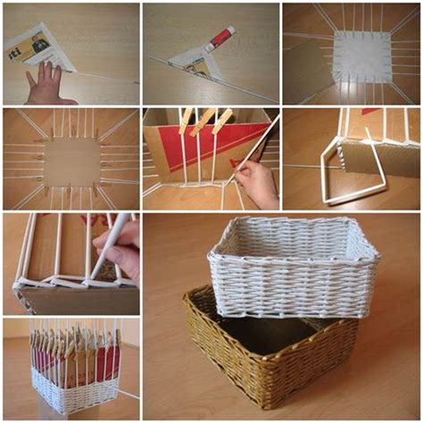 diy storage diy woven storage organizer from newspaper