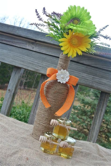 Rustic Wedding Decoration, Burlap Centerpiece, Wine Bottle