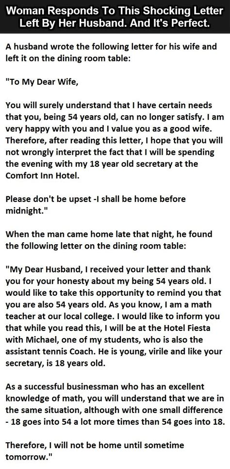 Letter For Husband Husband Leaves Shocking Letter For His Then She Responds S Den