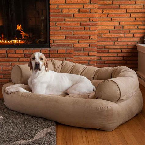 dogs couch snoozer overstuffed luxury dog sofa microsuede fabric