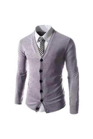 Jo In Shirt Gray Intl brown jacket v neck beige sweater light blue shirt