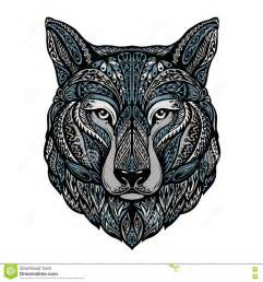 ethnic ornamented wolf or dog vector illustration stock