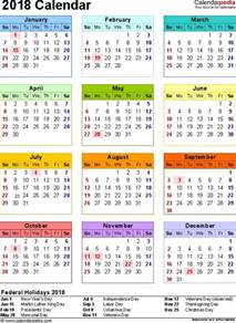 State Calendar 2018 Calendar With Federal Holidays Excel Pdf Word Templates