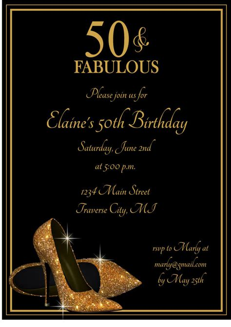 free printable birthday invitation cards for adults gold glitter shoes adult birthday party by announceitfavors