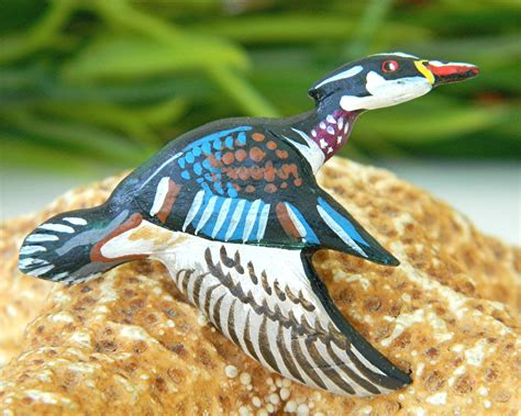 Handcrafted Birds - vintage wood duck brooch lapel pin tie tack handcrafted