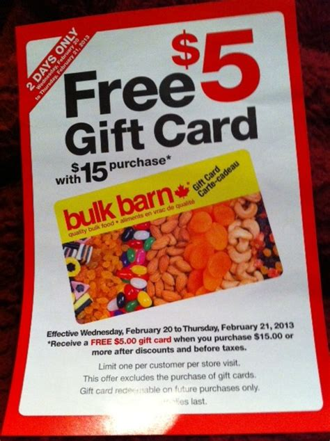 Buying Gift Card With Gift Card - bulk barn canada get a 5 gift card with a purchase of 15 or more canadian