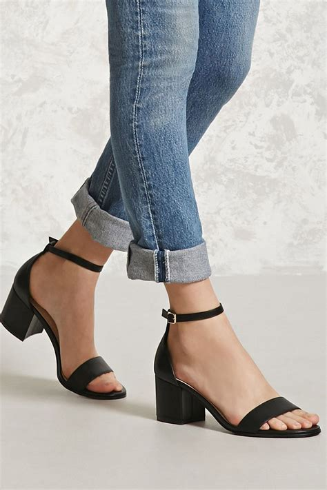 faux leather ankle strap heels