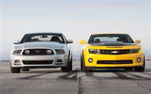2013 chevrolet camaro vs 2013 ford mustang gt front