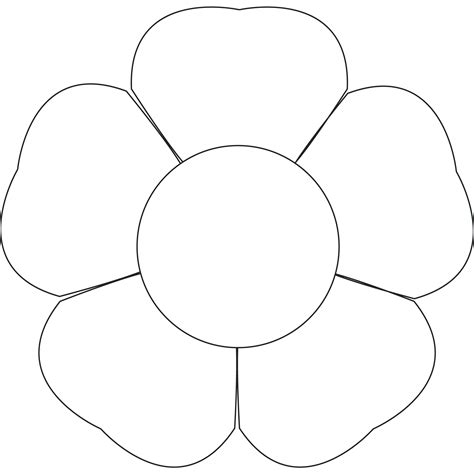 6 Petal Flower Template by Flower Petal Template Printable Template Template Flower