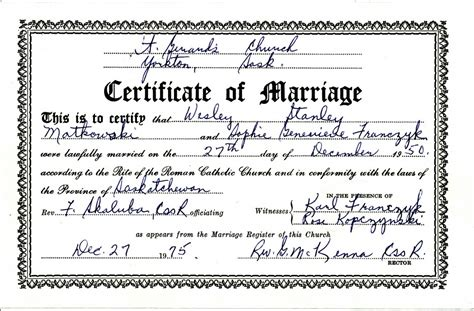 Marriage Certificate Records Marriage Records