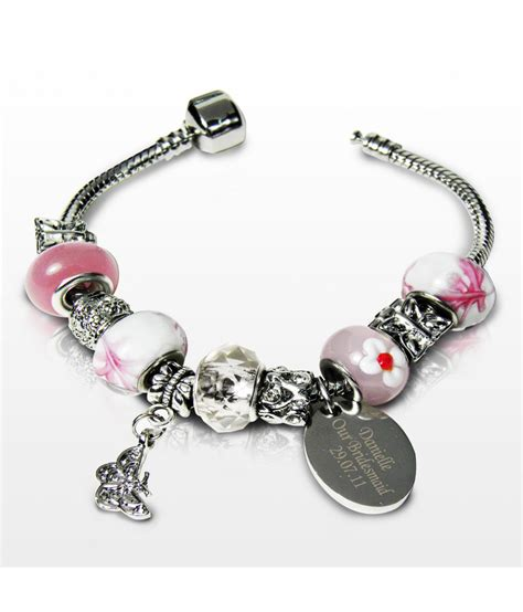 charm bracelet personalised charm bracelet sweet pink 18cm just for gifts