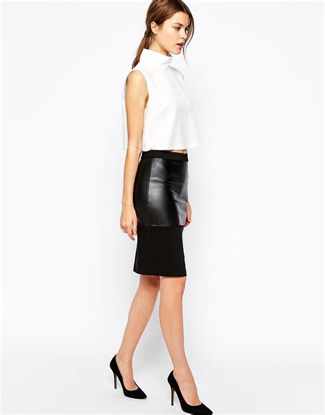 warehouse warehouse faux leather pencil skirt at asos