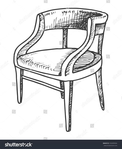 Sketch Sofa Chair Black by Chair Sketch Isolated On White Background Stock Vector