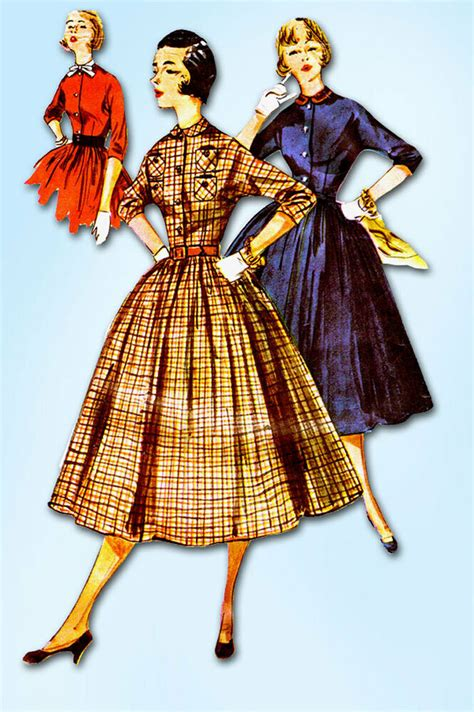 vintage patterns 1950s a 1849940940 1950s vintage simplicity sewing pattern 4828 ff misses shirtwaist dress size 12 ebay