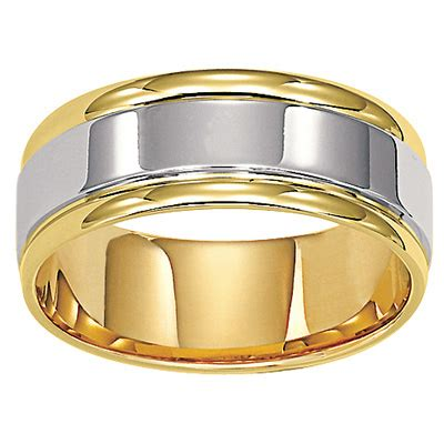 Mens Comfort Fit Gold Wedding Bands by S 8 0mm Comfort Fit Wedding Band In 14k Two Tone Gold