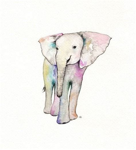 aceo elephant watercolor print gray print