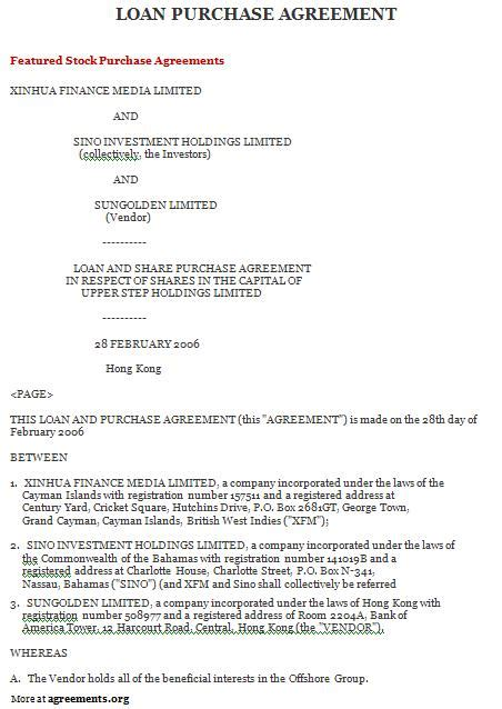 loan purchase agreement sample loan purchase agreement