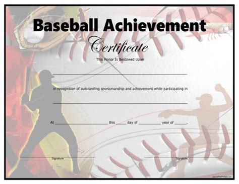 baseball template printable baseball certificate free printable allfreeprintable
