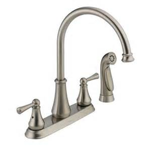 delta vessona kitchen faucet delta 21925lf ss vessona 2 handle side sprayer kitchen