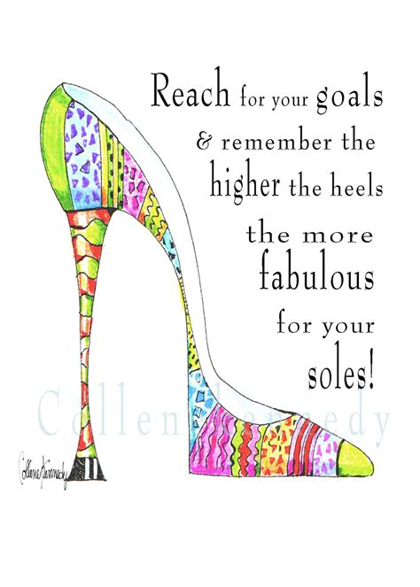 illustrated high heel shoe quote 5x7 print by