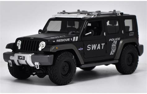 1 18 car model for jeep wrangler swat car rescue 1 road vehicle suv alloy car