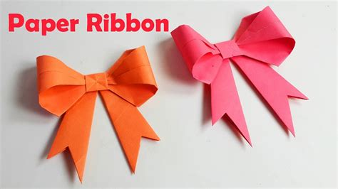 How To Make Ribbon With Paper - how to make paper ribbon how to fold a paper bow easy