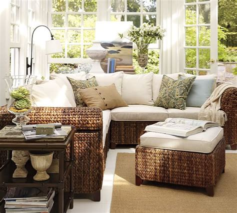 seagrass sectional seagrass sectional ottoman pottery barn