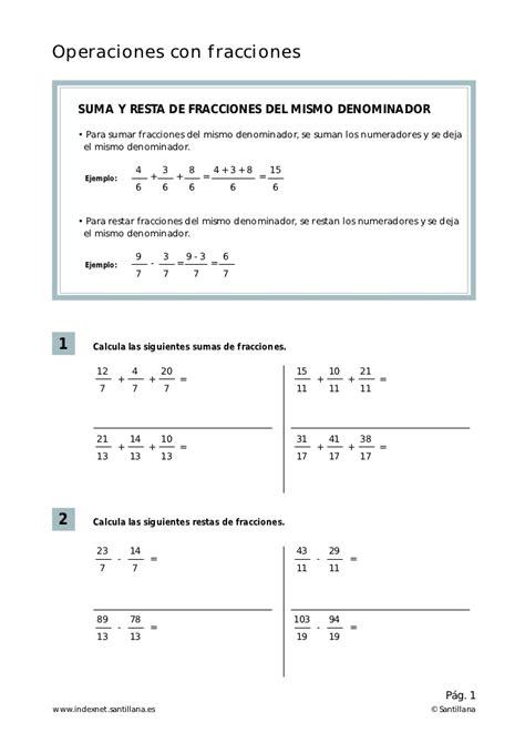 suma y resta de fraccionarios para nios de tercer grado operaciones con fraccionarios