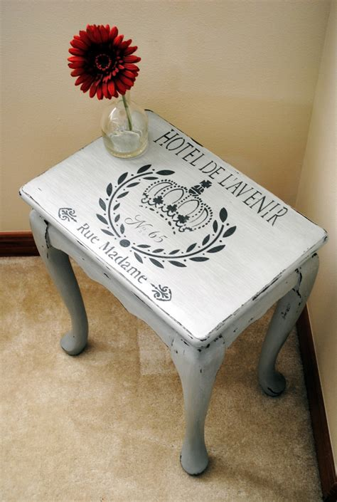 chalk paint stencils stenciled side table in seattle mist and smokey mountain