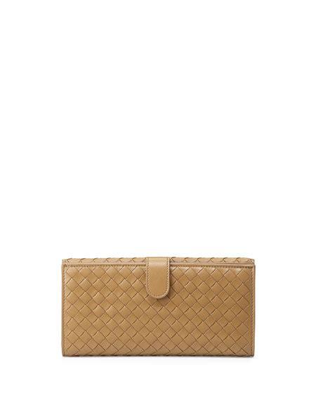 Bottega Veneta Continental Flap Wallet by Bottega Veneta Woven Continental Flap Tab Wallet Sand