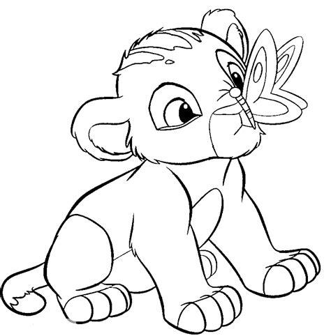 Easy Lion King Coloring Pages | desenho de simba e borboleta para colorir tudodesenhos